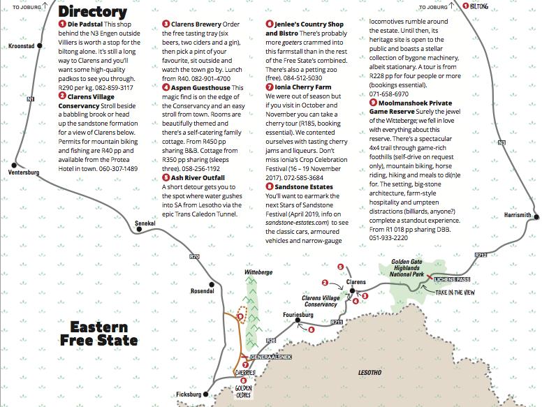 Eastern Free State Map Getaway Magazine